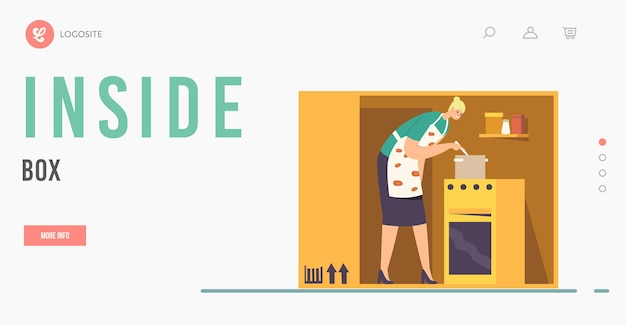 Isolation or introversion landing page template. female character cooking inside of box or cramped room. woman on tiny kitchen, housewife lockdown or loneliness. cartoon people vector illustration