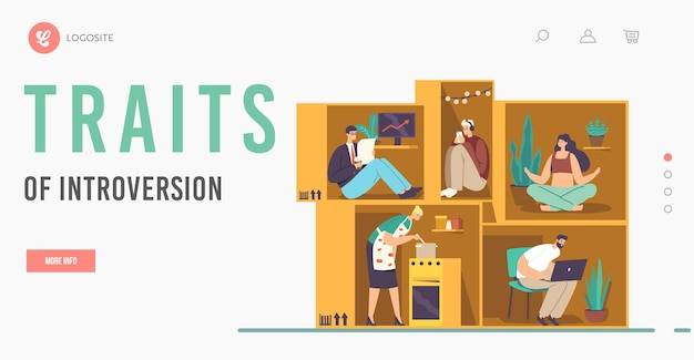 Isolation or introversion landing page template. introvert characters inside of tiny cramped room. people in small box businessman, housewife, student or freelancer. cartoon people vector illustration