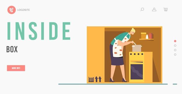 Шаблон целевой страницы для изоляции или интроверсии. женский персонаж готовит внутри коробки или тесной комнаты. женщина на крошечной кухне, изоляция домохозяйки или одиночество. мультфильм люди векторные иллюстрации