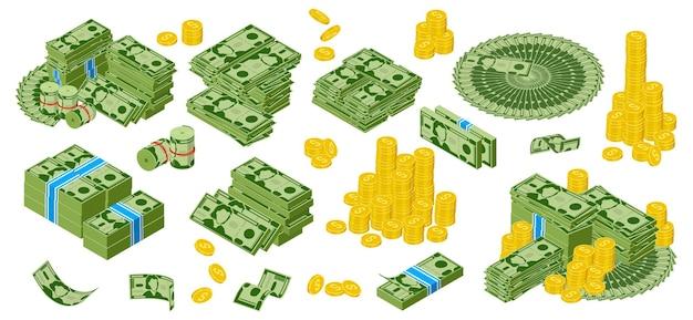 이성질체 달러 현금 녹색 달러 지폐와 황금 동전 더미 금 달러 동전 세트 번들