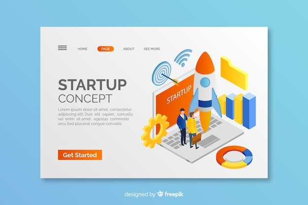 Isomertic startup concept landing page