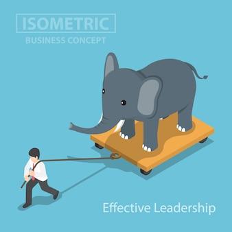 アイソメティックビジネスマンは、カートの上に立っている象を引っ張る