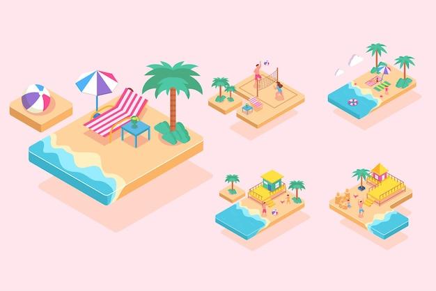 夏のビーチ活動のアイソメティック、漫画のキャラクター、フラットなイラスト