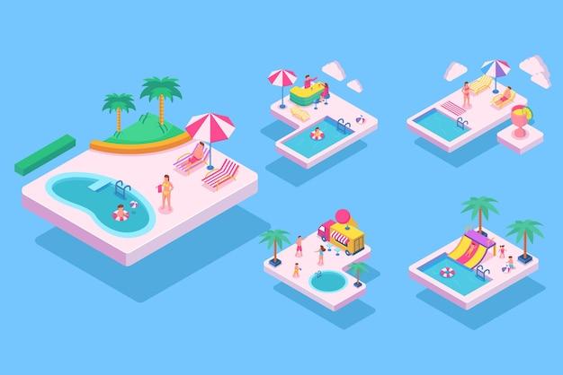 夏のビーチ活動のアイソメティック、青い背景の漫画のキャラクター、フラットなイラスト