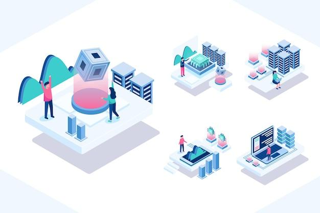 Изометрический узор с минимальными людьми, работающими и использующими технологическую связь или компьютер, в мультипликационном персонаже, плоская иллюстрация