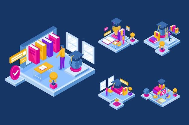 Изометрический узор с людьми, обучающимися онлайн, сетевые знания в классе онлайн в мультипликационном персонаже, плоская иллюстрация