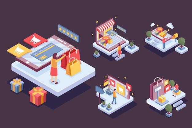 만화 캐릭터 스타일, 평면 그림에서 온라인 쇼핑하는 사람들과 isometic 패턴