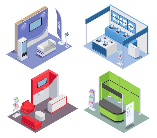Isometric 2x2 design concept with empty expo stands in rooms for exhibition and promotion 3d isolated  illustration