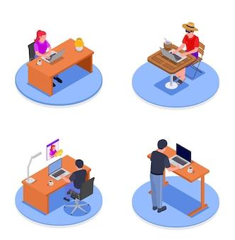 Изометрическая концепция дизайна 2x2 с изолированными людьми, работающими на расстоянии дома и на открытом воздухе