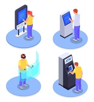 Изометрическая концепция дизайна 2x2 с людьми, использующими интерфейсы, виртуальный экран информационного киоска банкомата