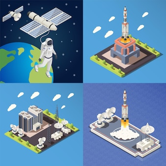 Isometric 2x2 design concept with research command center launching rocket astronaut in outer space 3d isolated illustration