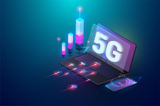 Isometric 3d 5g new wireless internet wifi connection. laptop and smartphone device. global network high speed innovation connection data rate technology