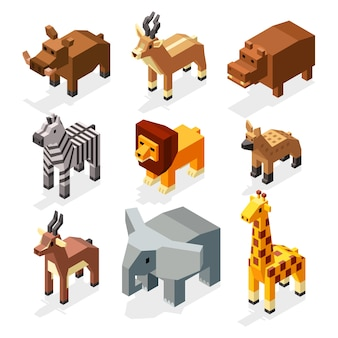 Isometric 3d african savannah animals flat vector stock.