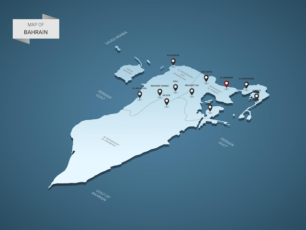 도시, 경계, 수도, 행정 구역 및 포인터 표시가있는 아이소 메트릭 3d 바레인지도