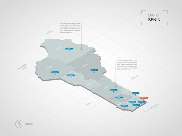 Изометрическая 3d карта бенина. стилизованная векторная карта с городами, границами, столицей, административными делениями и указателями