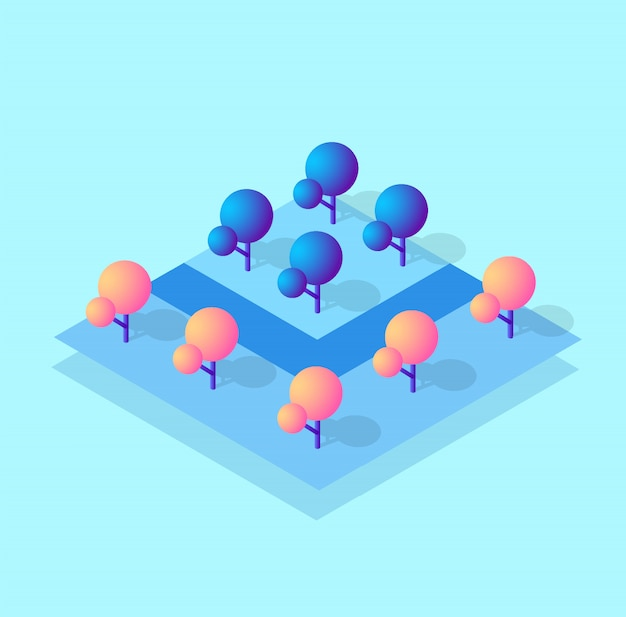 Isometric 3d block module of the district part