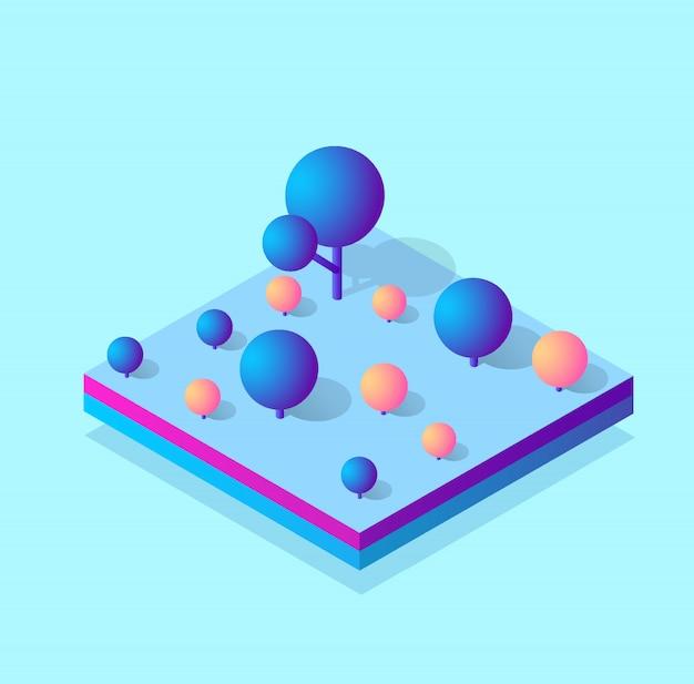 Изометрический 3d блок-модуль районной части