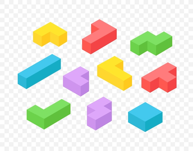 Isometric 3d blocks clipart isolated on transparent