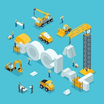 사업 아이디어, 브랜드, 사회의 아이소 메트릭 3d 건물. 건설 작업에서 일하는 사람들.