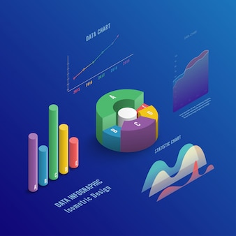 Isometric 3d business infographic with diagrams and charts.