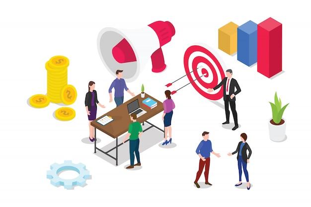 Изометрическая 3d концепция бизнес-стратегии с командой людей, работающих вместе