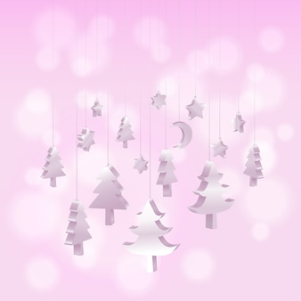 Isometric 3d christmas tree ornaments hanging in pink
