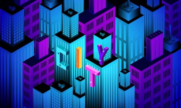 Isometric 3d city geometric background