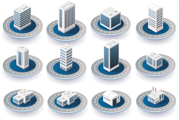 Isometric 3d city icons