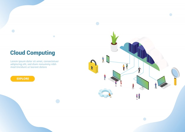 Isometric 3d cloud computing concept for website template banner or landing homepage