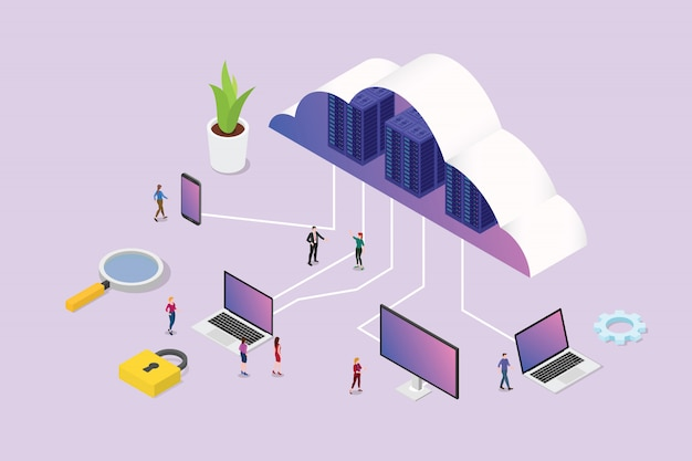 Isometric 3d cloud computing concept with team people and various media platform