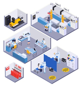 의료 실험실 장비 전문가와 테스트 그림을 복용하는 환자와 아이소 메트릭 3d 구성