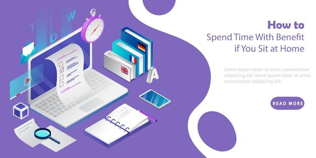 Eラーニングと自己教育のアイソメトリック3dコンセプト。本、スマートフォン、リモートワークと教育のためのツールを備えたラップトップ。利益を伴う時間を過ごす方法を提供するという概念。ベクトルイラスト。