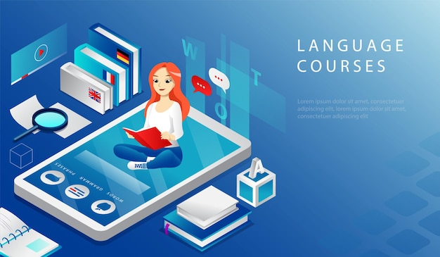 オンライン遠隔教育言語コースのアイソメトリック3dコンセプト。ウェブサイトのランディングページ。若い陽気な女の子は大きなスマートフォンに座って教科書を読んでいます。 webページの漫画のベクトル図。