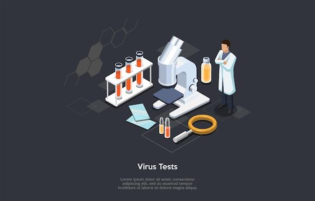 ウイルスおよび血液検査のアイソメトリック3dコンセプト。ワクチンを作るためのウイルスの実験室研究とテストを行う科学者。専門機器を使った科学実験。漫画のベクトルイラスト。