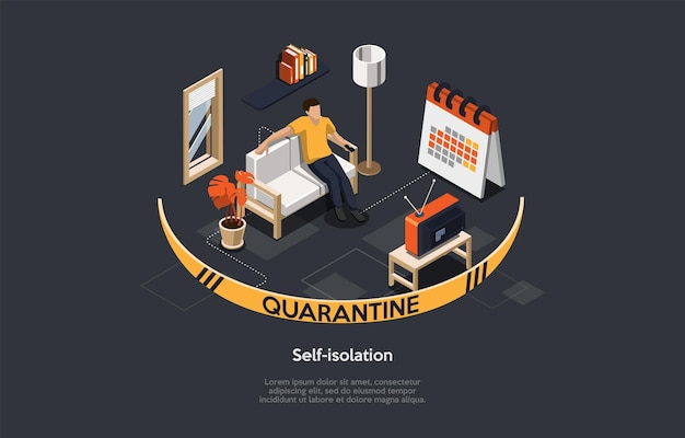 Isometric 3d concept of self isolation and quarantine, health care, fears of getting coronavirus. man stays at home during quarantine, relax, reads books and watches tv. cartoon vector illustration.
