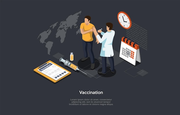 Isometric 3d concept of vaccination of population of coronavirus, immunity protection, infection prevention. man doctor make vaccine a patient to prevent virus infection. cartoon vector illustration.