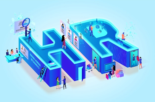 Isometric 3d creative letters hr. human resources