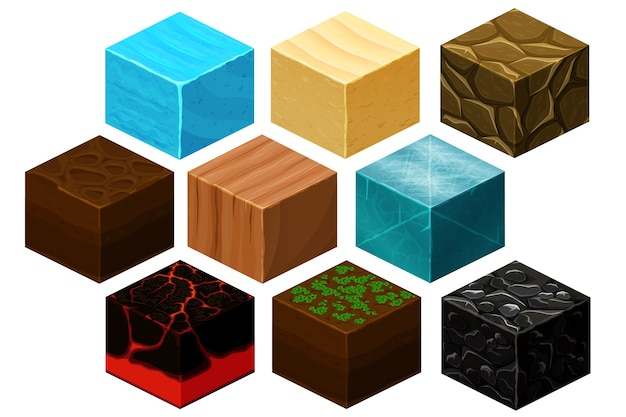 Isometric 3d cube textures vector set for computer games. cube for game, element texture, nature brick for computer game illustration