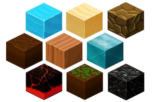 コンピュータゲーム用の等尺性3dキューブテクスチャベクトルセット。ゲーム用キューブ、要素テクスチャ、コンピュータゲームイラスト用自然レンガ