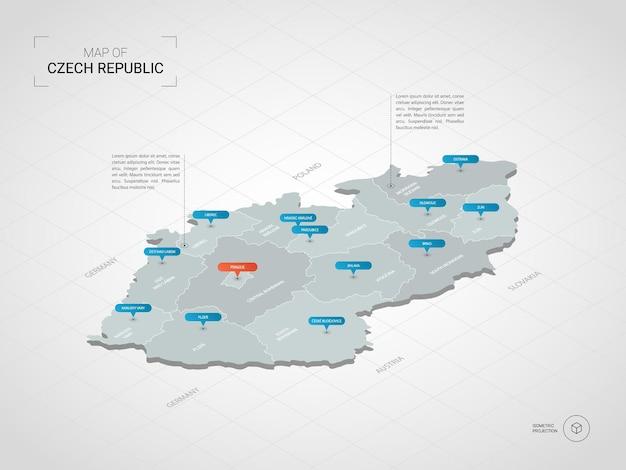 아이소 메트릭 3d 체코 공화국지도. 도시, 경계, 수도, 행정 구역 및 포인터 표시가있는 양식화 된 벡터지도