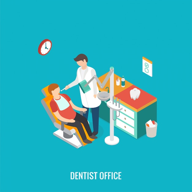 Isometric 3d   dentist office during reception patient.