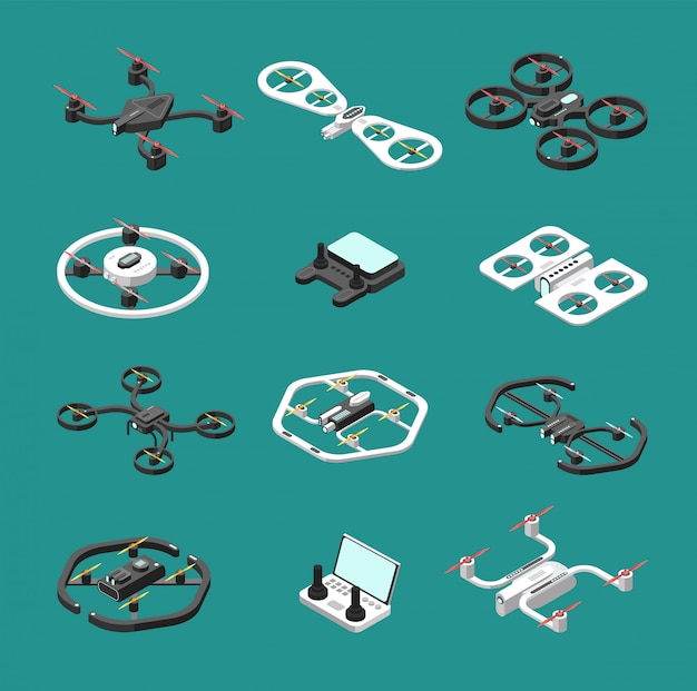 Isometric 3d drones. uav unmanned aircrafts vector set