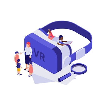 Isometric 3d education concept with virtual reality glasses and students illustration
