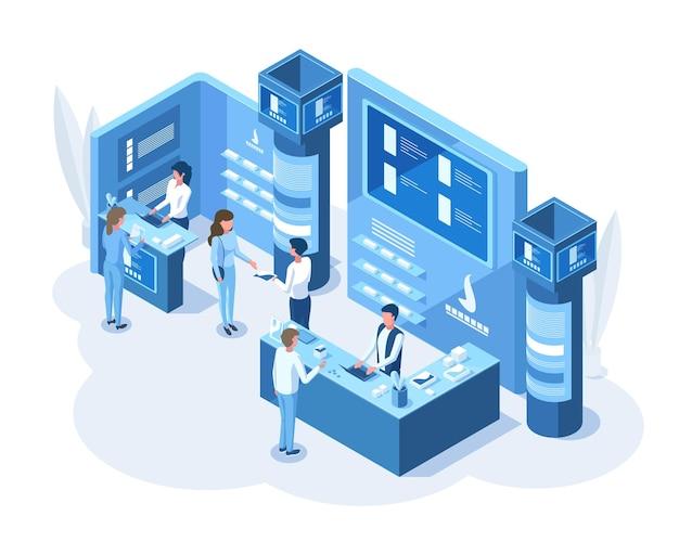 아이소메트릭 3d 엑스포 데모 프레젠테이션 프로모션 스탠드. 전시 교육 또는 프로모션 정보는 엑스포 컨설턴트 벡터 삽화와 함께 서 있습니다. 엑스포 센터 개념입니다. 스탠드 프로모션 정보