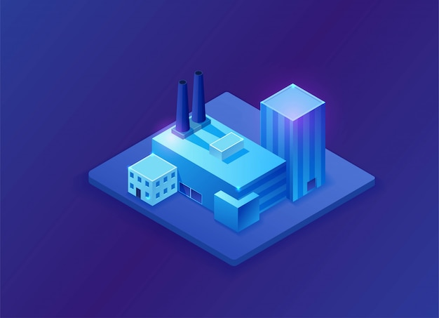 Isometric 3d factory, blue neon glowing plant