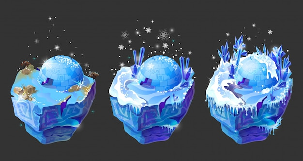 Isometric 3d fantastic ice islands for game design set.
