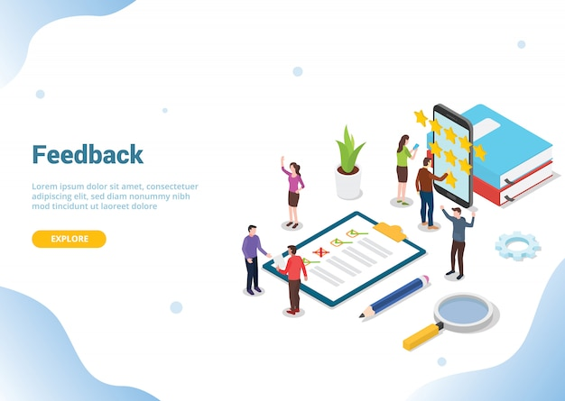 Isometric 3d feedback business concept for website