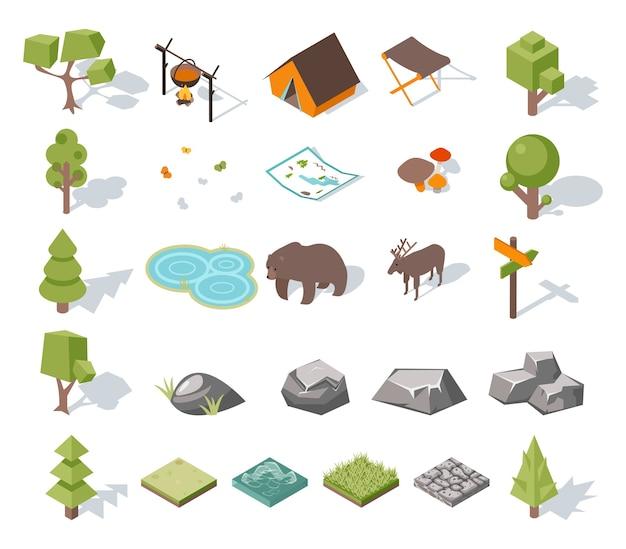 Изометрическая 3d элементы лесного кемпинга для ландшафтного дизайна. палатка и олени, лагерь и медведь, бабочки и грибы, карта и пруд. векторная иллюстрация