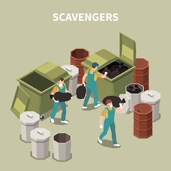 Isometric and 3d garbage recycling composition with scavengers on work with masks  illustration
