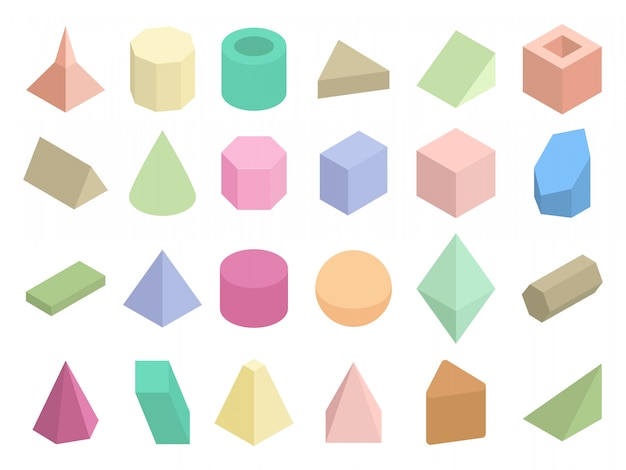 Isometric 3d geometric color shapes vector set